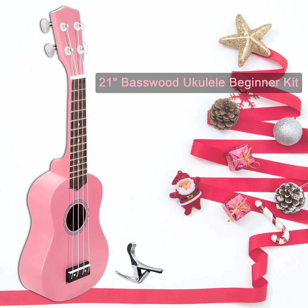 "21"" Soprano Ukulele Basswood w/ Bag Aluminum Capo For Adult Kids Study Musical Instrument Hobby Color Opt"