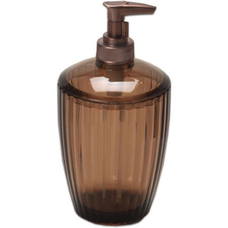Ribbed Acrylic Bath Accessory Lotion/Soap Pump, Brown - Walmart.com