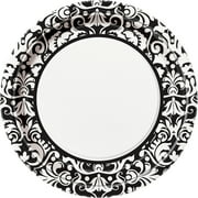 "9"" Black Damask Party Plates, 8ct"