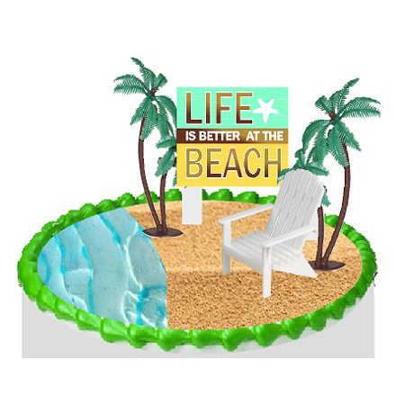 Life is Better on the Beach Chair and Palm Tree Cake Decoration Topper](Beach Cake Topper)