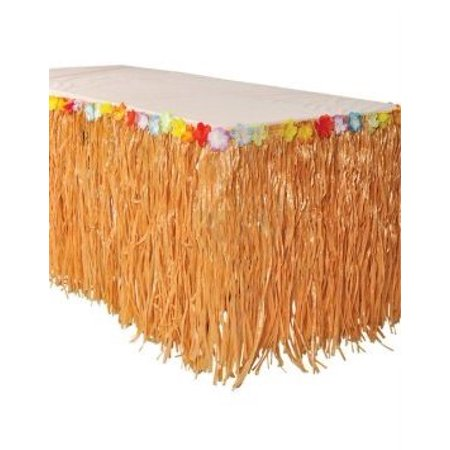 Hawaiian Luau Hibiscus Natural Color String & Colorful Silk Faux Flowers Table Hula Grass Skirt (1 Pack) by Super Z Outlet ()