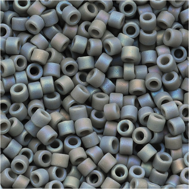 Miyuki Delica Seed Beads 11/0 Opaque Lt Grey Matte AB DB882 7.2 Grams