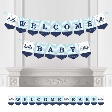 hello little one - blue and silver - baby shower bunting banner - boy party decorations - welcome baby](Welcome Baby Boy Banner)