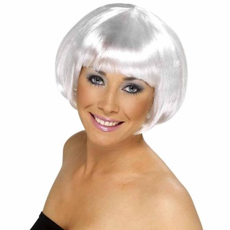 White Short Bob Wig Adult Halloween Costume Accessory