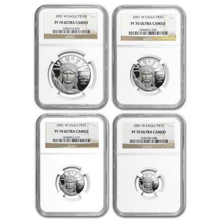 Platinum Ngc Coin Set - 2001-W 4-Coin Proof Platinum American Eagle Set PF-70 NGC