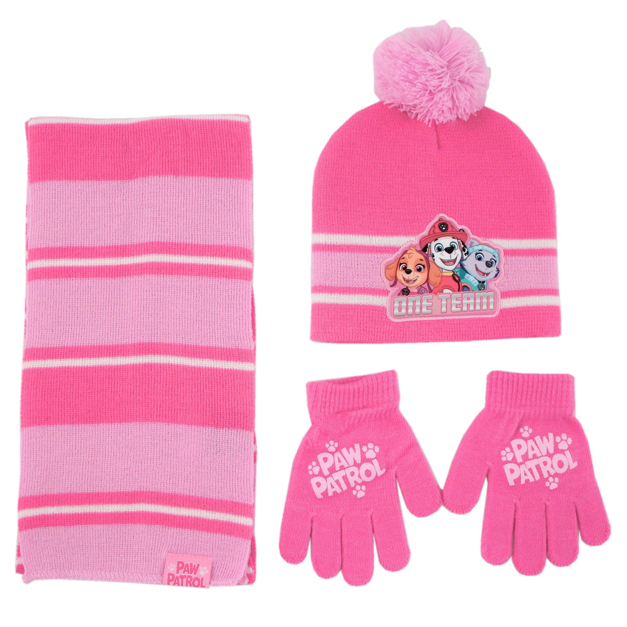 Girls Toddler All In One Hat Scarf Mitt Set Paw Patrol Skye Winter Head Wear