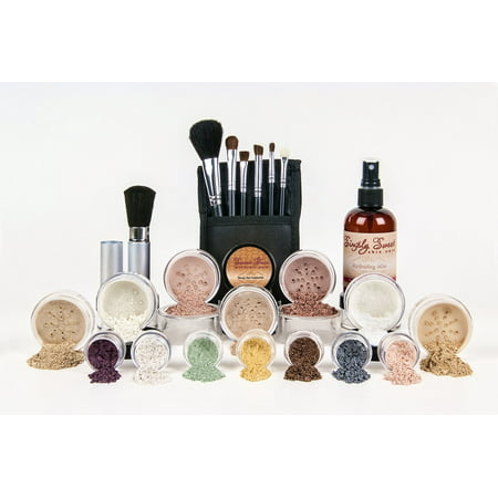 ULTIMATE KIT Full Size Mineral Makeup Set Matte Foundation Kit Bare Face Sheer Powder Cover (Pink Bisque)](Halloween Makeup White Face)
