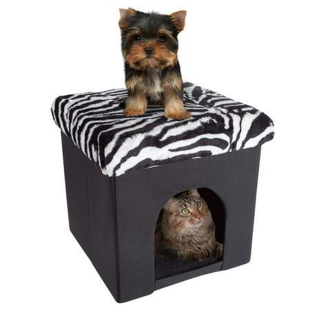 Pet House Ottoman- Collapsible Multipurpose Cat or Small Dog Bed Cube and Footrest with Cushion Top and Interior Pillow by PETMAKER(Zebra Print -