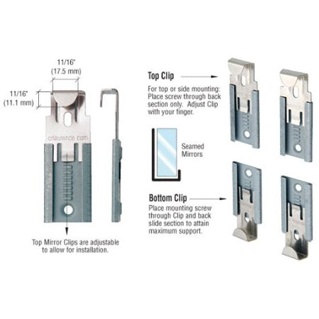 CRL Nickel Plated Adjustable Mirror Clip set for 1/4 in (6 mm) Straight Edge Glass - Package, Available to Fit Three Thicknesses of Mirror By C.R. Laurence Crl Blank Glass Mirror Plate