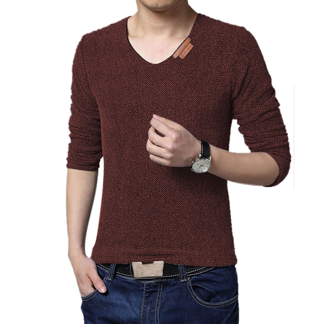 Azzuro Men's Long Sleeve Knitted Panel Fleece Lined T-Shirt (Size M / 38)