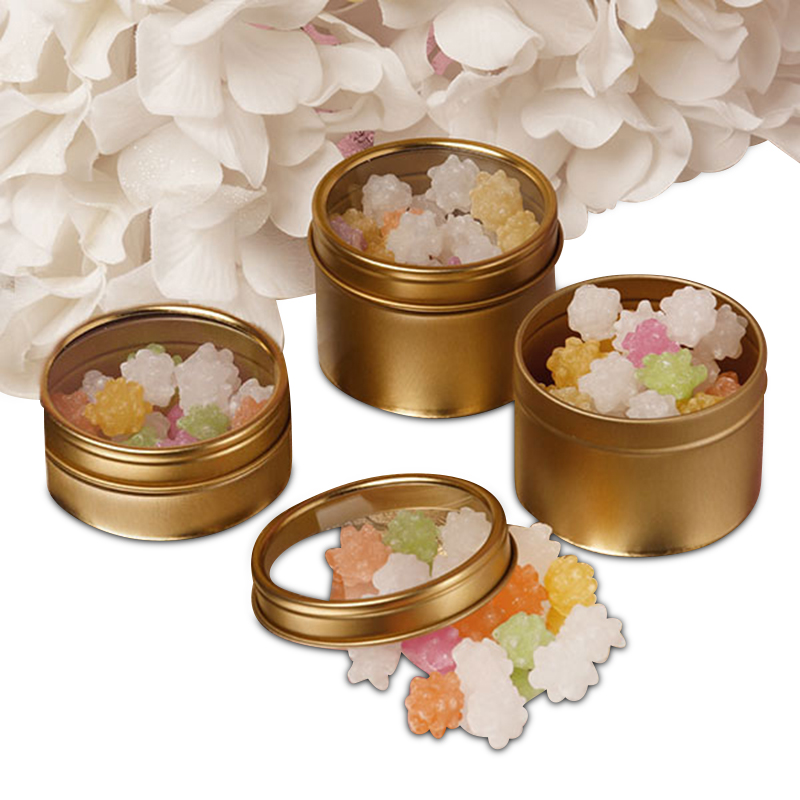 24ea - 2 Oz Gold Window Shallow Tin Can-Pkg by Paper Mart