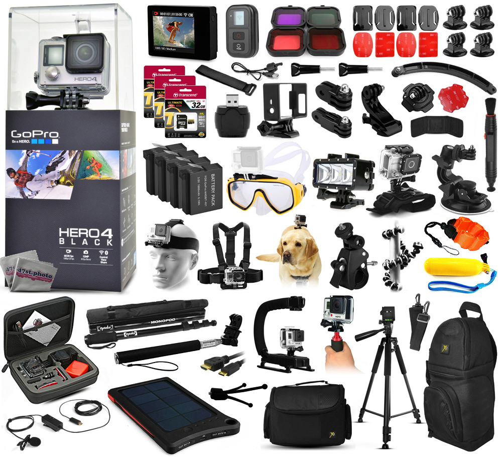 GoPro Hero 4 HERO4 Black Edition CHDHX-401 Kit with 160GB Memory + Diving Mask + Waterproof LED Light + LCD Display + Solar Charger + Tripod + Housing + Mic + X-Grip + Car Mount + Travel Case + More