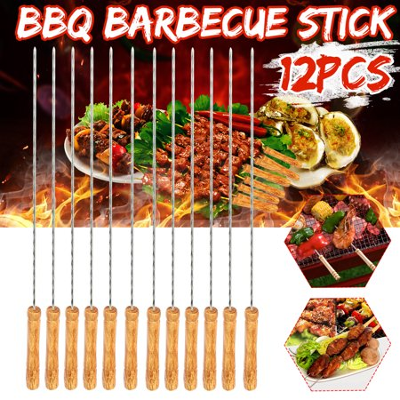 12Pcs Outdoor Picnic BBQ Barbecue Skewer Roast Stick Stainless Steel Kebab Needle Reusable 12