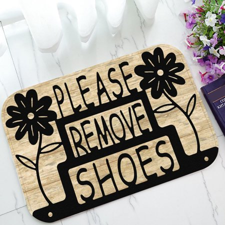 ZKGK Please Remove Your Shoes Sign Non-Slip Doormat Indoor/Outdoor/Bathroom Doormat 23.6 x 15.7