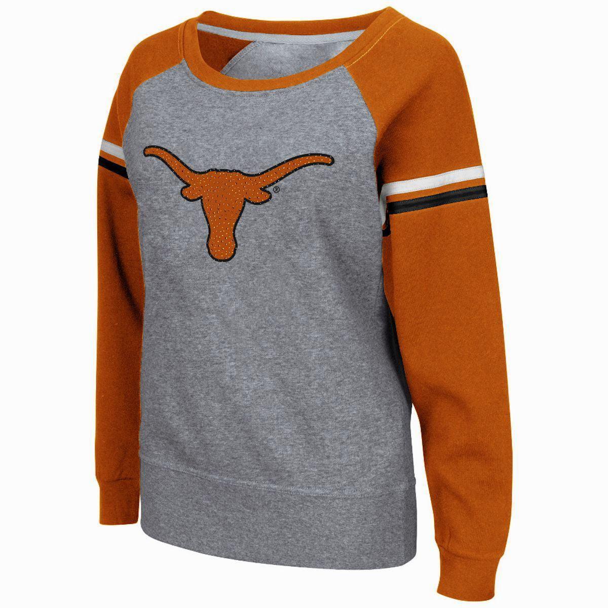Texas Longhorns Aurora Boatneck Raglan Heather Grey Womens Sweatshirt