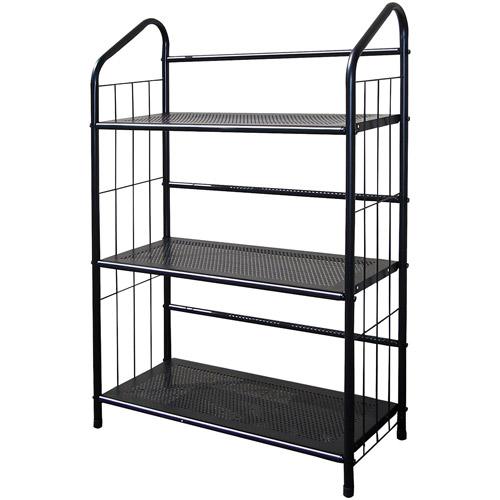 Metal Grid 3-Shelf Open Bookcase, Black