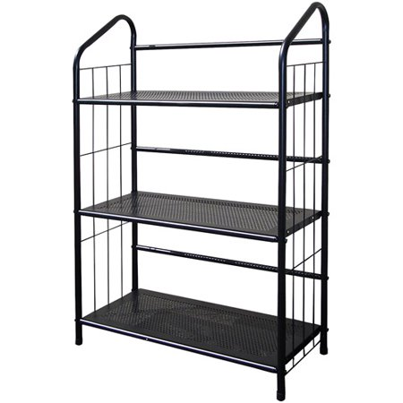 Metal Grid 3-Shelf Open Bookcase, Black