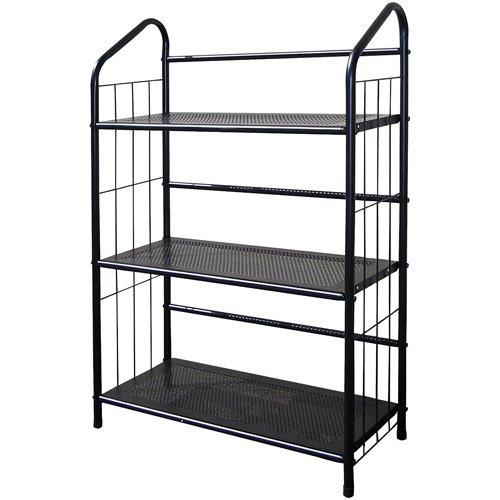Metal Grid 3 Shelf Open Bookcase Black