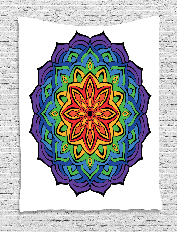Colorful Mandala Floral Tapestry Wall Hanging for Living Room Bedroom Dorm Decor