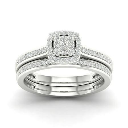 (Imperial 1/5Ct TDW Diamond S925 Sterling Silver Cushion Shape Cluster Halo Bridal Set (I-J, I2))