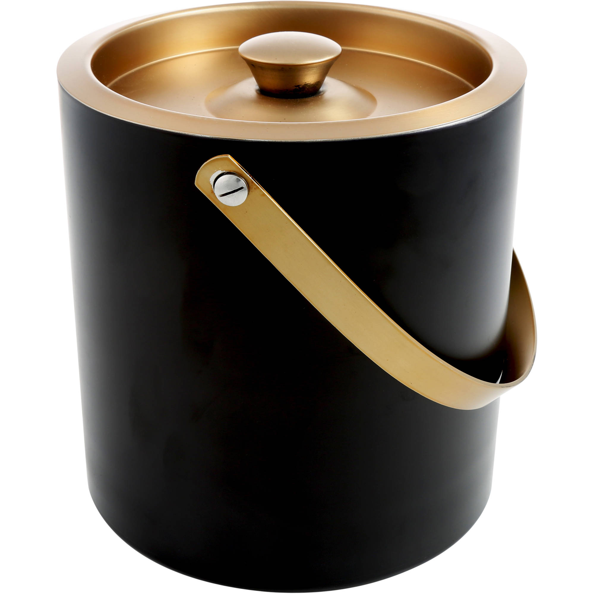Cambridge Dorian Brass and Black 3 qt Double-Walled Ice Bucket by Cambridge
