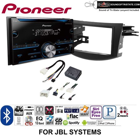 Pioneer FH-S500BT Double Din Radio Install Kit with CD Player Bluetooth Fits 2006-2012 Toyota RAV4 with Amplified System + Sound of Tri-State