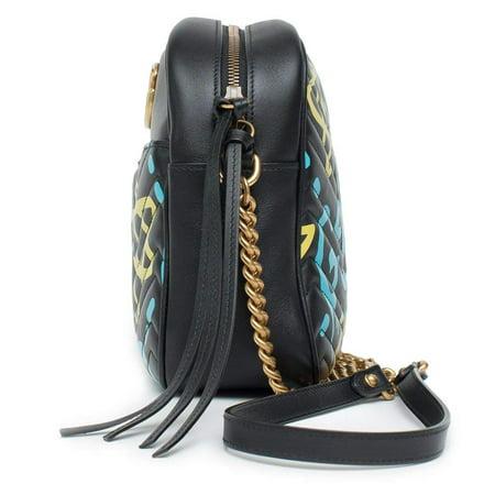 46464c239e1 Gucci - Gucci Ghost GG Marmont Black Graffiti Leather Shoulder Bag Handbag  Italy New 1 - Walmart.com