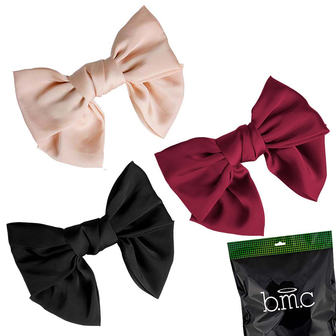 BMC Womens Satin Big Bow Hair Clip Barrette Accessory - Solid Colors Mixed Lot