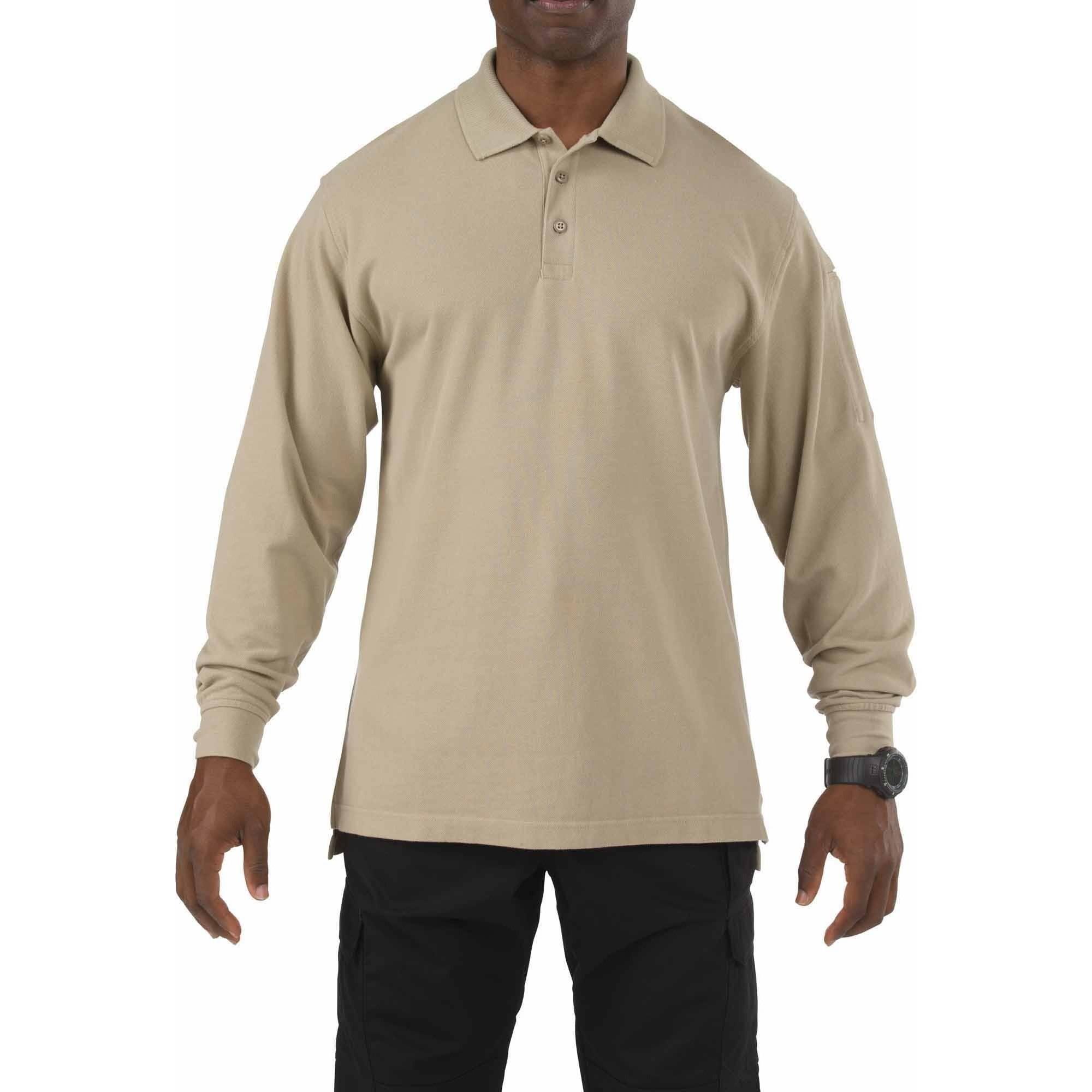 5.11 Tactical Long Sleeve Professional Polo Shirt, Silver Tan, Tall