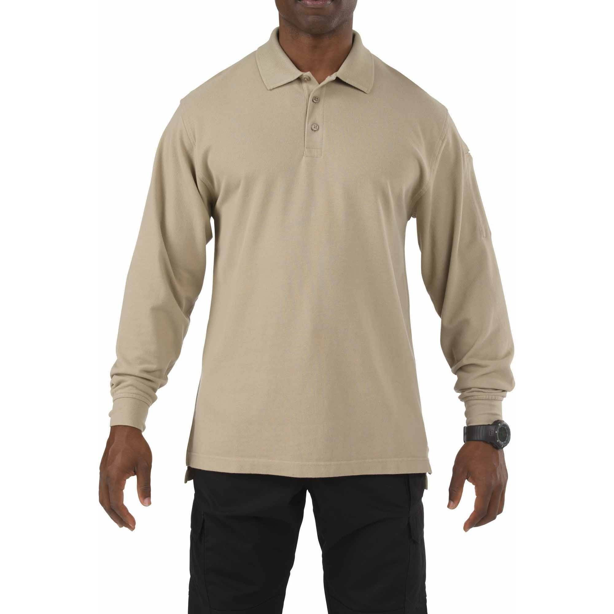 Long Sleeve Professional Polo Shirt, Silver Tan, Tall
