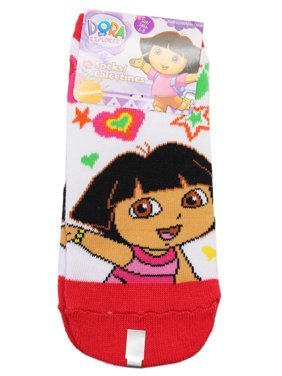 Dora the Explorer Stars and Hearts Pink-Red/White Socks (Size 6-8, 1 Pair)