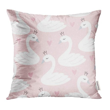 Pastel Princess (USART Pink Cute Swan Princess Pattern White Animal Crown Heart Pastel Love Nature Pillowcase Cushion Cases 16x16)