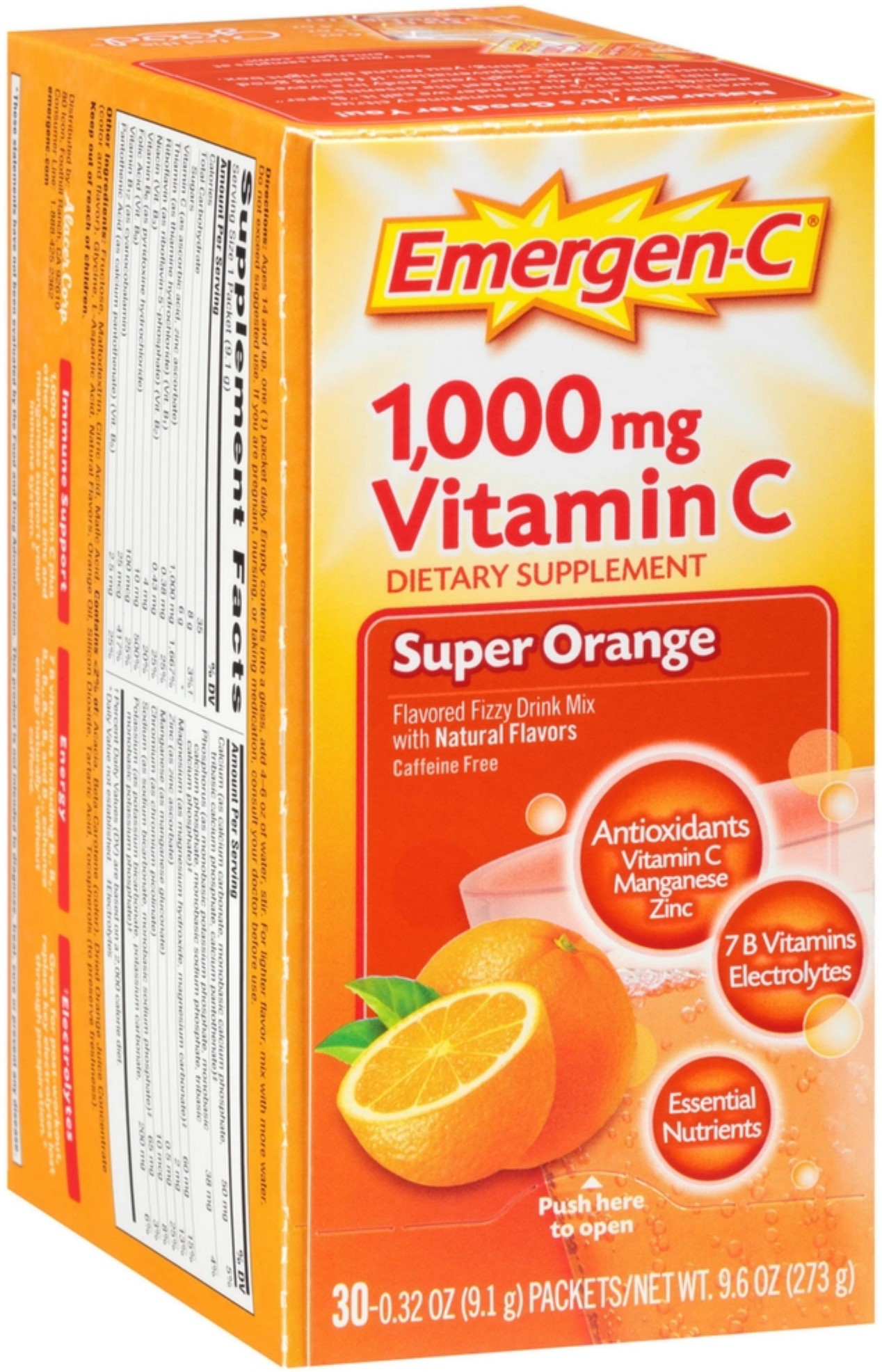 Emergen-C Vitamin C Flavored Fizzy Drink Mix Packets, Super Orange 30 ea (Pack of 4) by