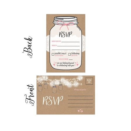 50 Rustic RSVP Cards, RSVP Postcards No Envelopes Needed, Response Card, Blank RSVP Reply, RSVP for Wedding, Rehearsal Dinner, Baby Shower, Bridal, Birthday, Engagement, Bachelorette Party Invitations (Halloween Invitation Cards Printable)