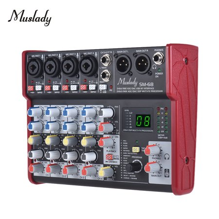 Muslady SM-68 Portable 6-Channel Sound Card Mixing Console Mixer Built-in 16 Effects with USB Audio Interface Supports 5V Power Bank for Recording DJ Network Live Broadcast