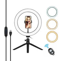 10 Inch LED Ring Light with Tripod Stand Phone Holder Remote Control 3200K-5500K Dimmable Table Camera Light Lamp 3 Light Modes & 10 Brightness Level