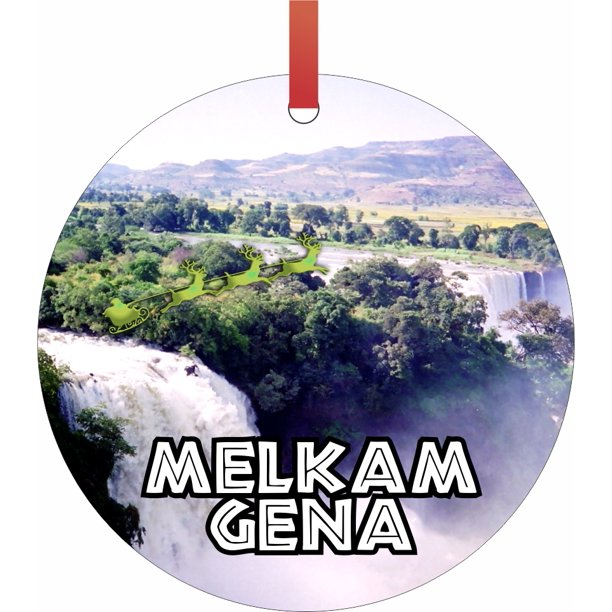 Santa and Sleigh Riding Over Blue Nile Falls - Ethiopia - Melkam Gena -  Rosie Parker Inc. TM - Double-Sided Round-Shaped Flat Aluminum Christmas  Holiday Hanging Ornament Made in the USA! -