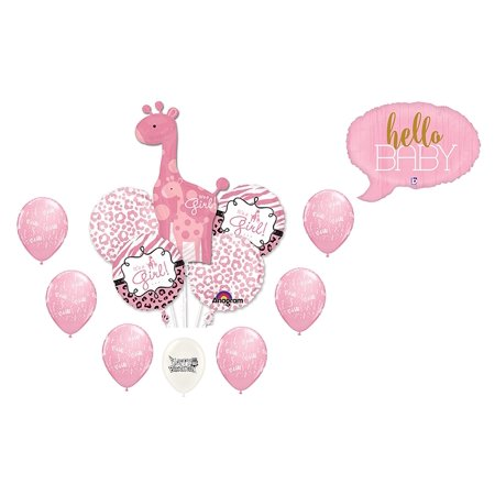 Sweet Safari Giraffe It's a Girl Baby Shower with Hello Baby Mylar Supershape New Baby Arrival Balloon Bouquet
