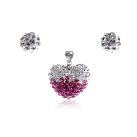 Adorable Simple Clear Fuchsia Pink Rhinestone Lovers Heart Pendant Earring - Adorable Necklace Set