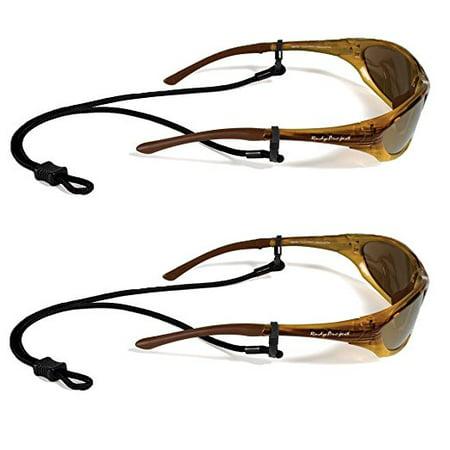 Croakies Terra Spec Adjustable Rope Eyeglass and Sunglass Retainer / Sport Strap, Black (2 Pack) ()