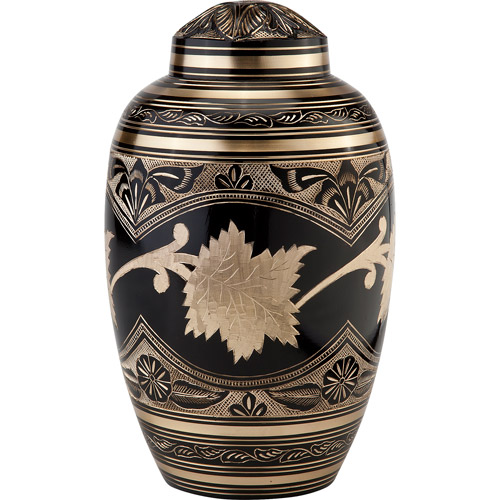 Star Legacy's Black Toledo Leaf Brass Cremation Urn for Human Ashes with Velvet Bag, Large/Adult