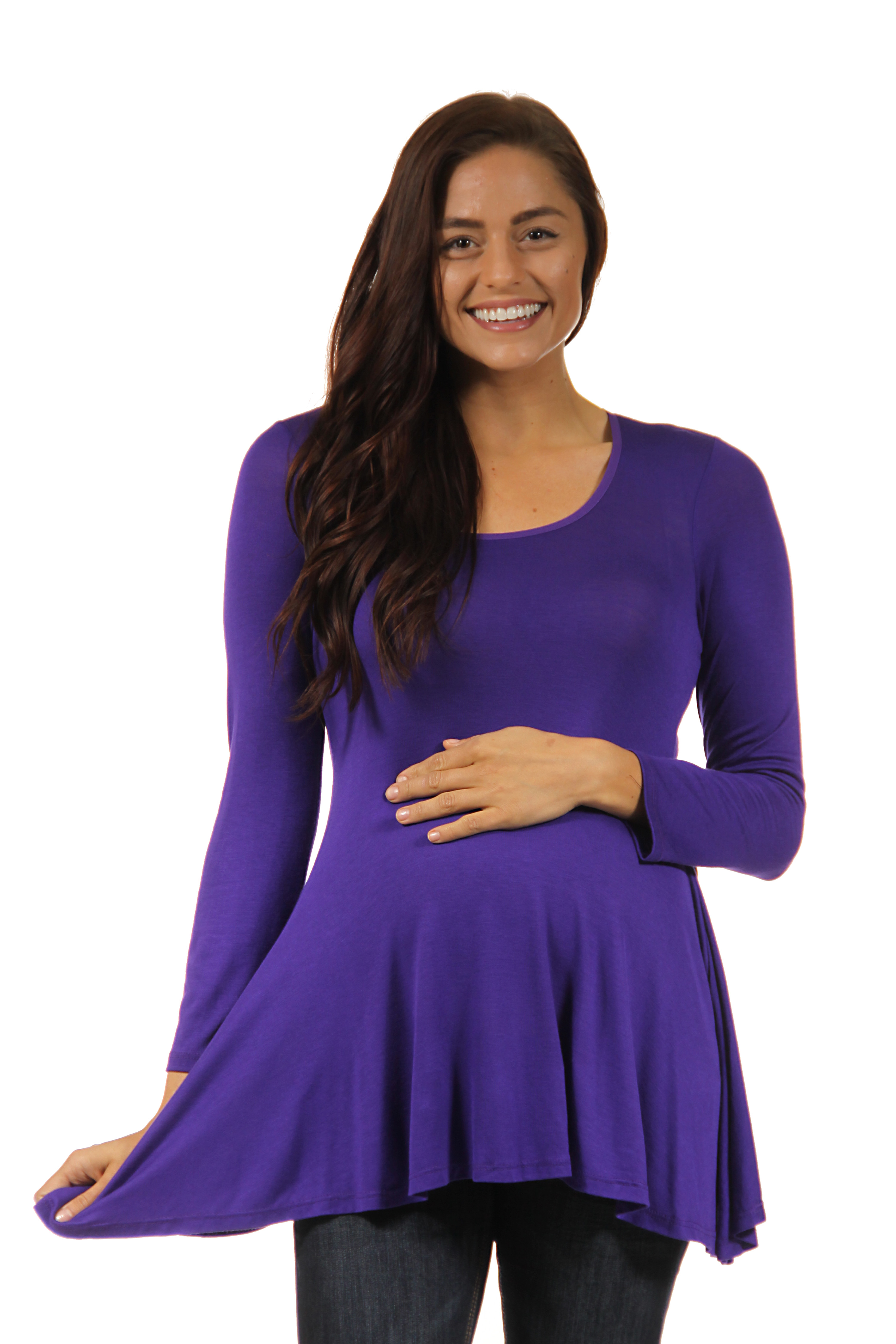 24seven Comfort Apparel Poised Long Sleeve Swing Maternity Tunic Top