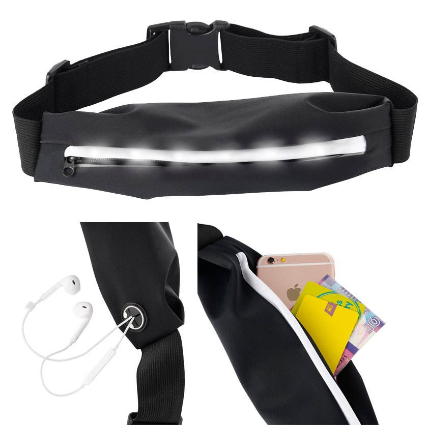 UNIVERSAL BLACK WAISTBAND POUCH CARRYING CASE FOR CELL PHONE WITH FLASHING LED LIGHTS, ZIPPER POCKET, HEADPHONES HOLE