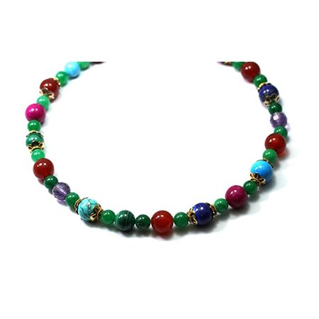 Gem Bead Necklaces 12mm and 5mm Carnel Lapis AmethMalach Turq Impregnation Jade Indian Beads Necklace 17