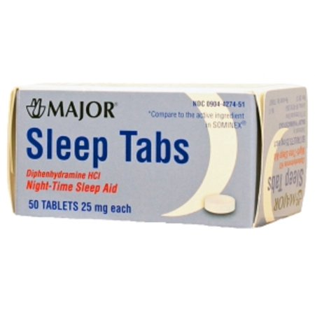 MAJOR SLEEP TABS BOXED DIPHENHYDRAMINE HYDROCHLORIDE-25 MG Lt Blue 50 TABLETS UPC 309044274515 (Diphenhydramine Hydrochloride)