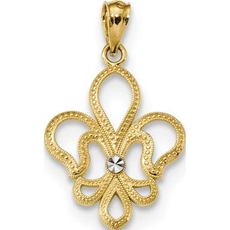 14k or jaune w / w Rhodium / Rhodium taille diamant satin Fleur de Lis (15.7x25.6mm) Pendentif / Breloque - image 2 de 2