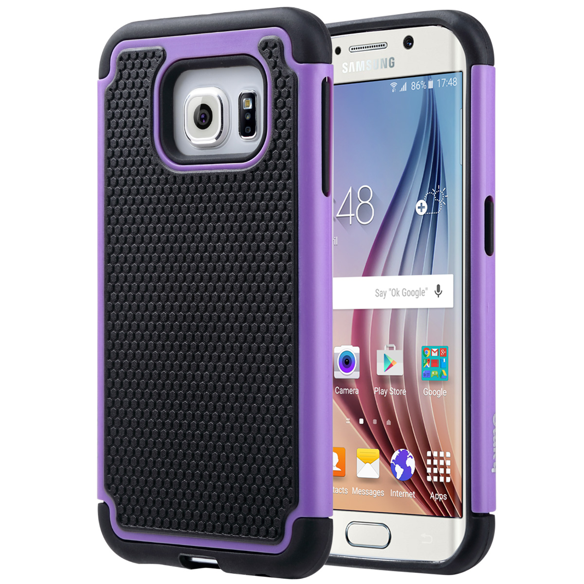 "ULAK Galaxy S6 Edge Case, Hybrid Case with Dual Shock Resistant Soft silicone Case Design and Hard PC Construction for Samsung Galaxy S6 Edge (5.1"" inch) 2015 Release"