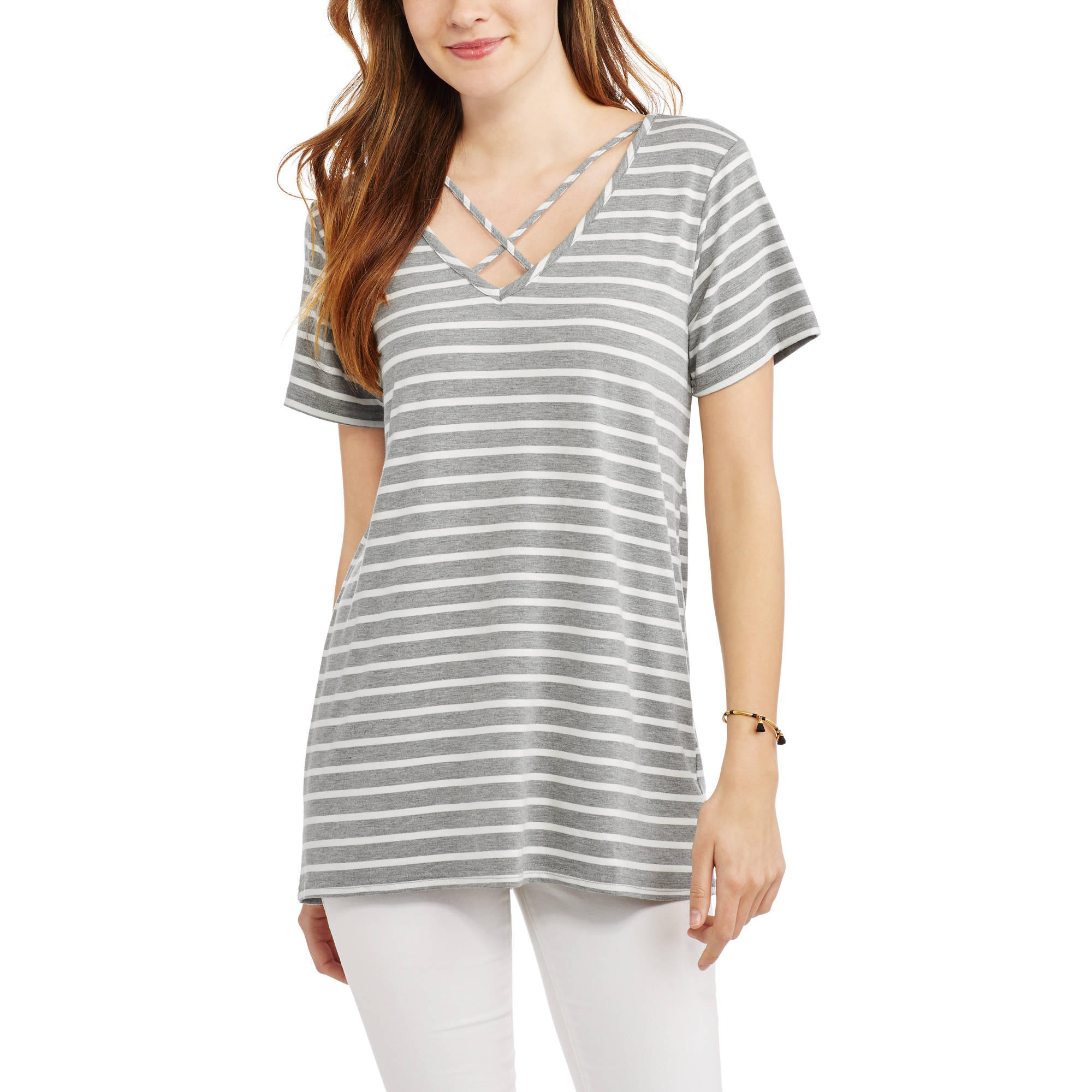 Women's Short-Sleeve Striped T-Shirt With Caging