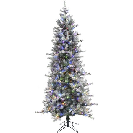 Fraser Hill Farm 7.5 Ft. Buffalo Fir Slim Artificial Christmas Tree with Multi-Color LED String