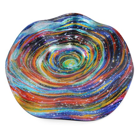Border Concepts 12 in. Wavy Starry Night Glass Plate (12 Inch Glass Square Plate)